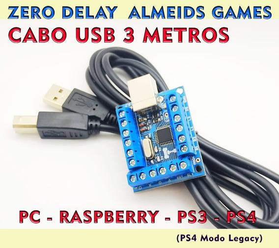 Placa Zero Delay Pc Ps3 Ps4 Modo Legacy C/ Cabo Usb