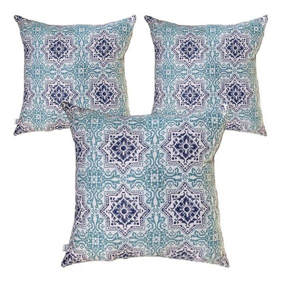 3 Cojines Decorativos Azul Mandala Estrella Mosaico Geo Sala