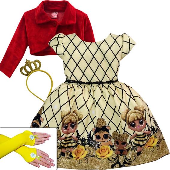 Vestido Boneca Lol Queen Bee Luxo Tiara Bolero Luvas