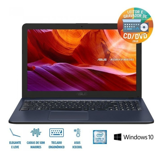 Asus Notebook X543ua-go2196t Cinza Escuro I3 7020u 4gb 1tb