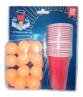 Set De Berr Pong Americano 20 Vasos 20 Pelotas Juego Adultos