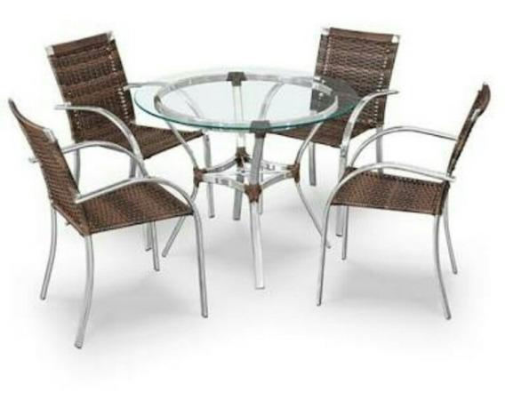 Jogo Mesa Em Alumínio Com 4 Cadeiras (exceto Tampo)