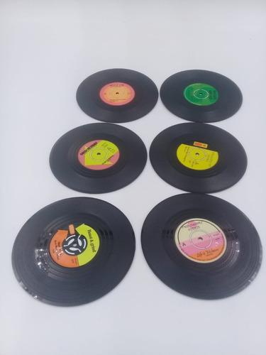 Set 6 Discos De Vinilos Retro, Posa Vasos, Cerveza Y Cafe .