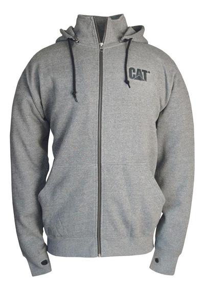 Poleron Hombre Basin Zip Sweatshirt Gris Oscuro Cat