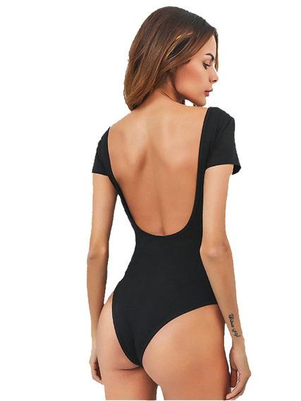 Body Mujer Sin Espalda Body Dama Manga Corta Espalda U Moda
