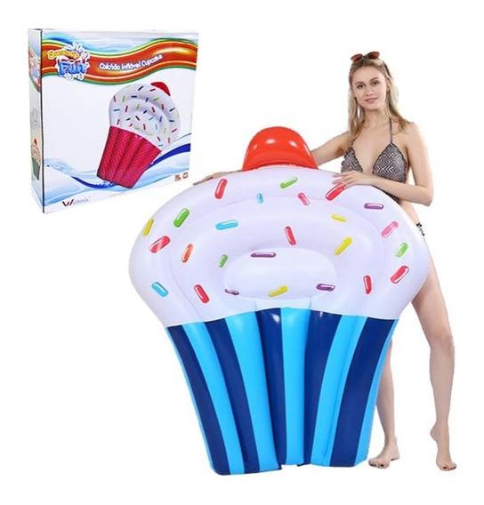 Bóia Colchão Cupcake Azul Gigante Piscina Praia Verão 145cm