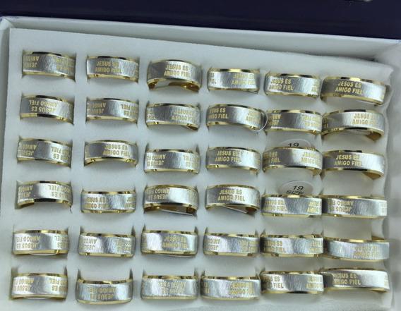 Anel Em Aço Inoxidável 316l Banhado A Ouro