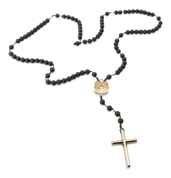 Colar Terço De Pedra Ônix Com Crucifixo Slim
