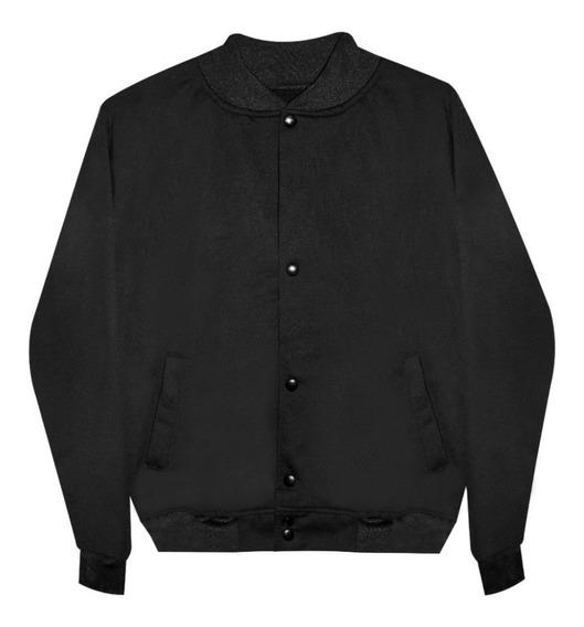 Chamarra Jacket Colegio Universitaria Beisbolera Moda Negra