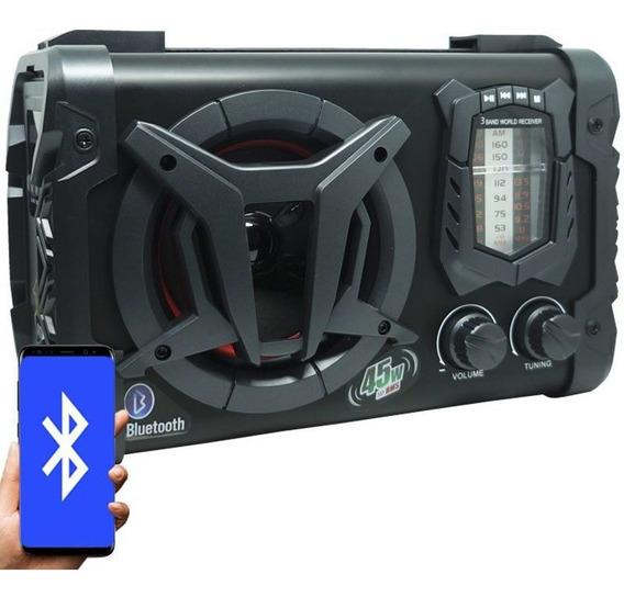 Caixa Som Amplificada Bluetooth 45w Usb Aux Fm Am Sw Bateria