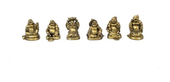 Set 6 Mini Budas Sonrientes Dorado Feng Shui - Arcana Caeli