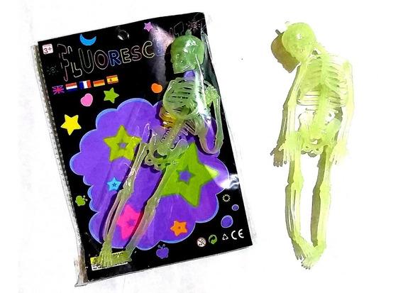 Halloween Esqueleto Fluorescente Cabeza Giratoria 20 Cm