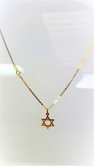 Cordão Em Ouro Piastrini 60cm Com Ping Estrela De Davi