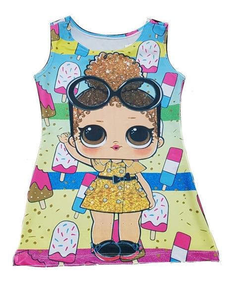 Vestido Infantil Lol Trapézio Suplex 4 A 8 Anos