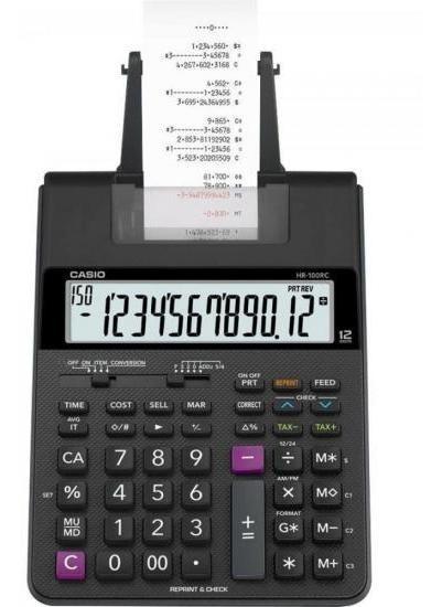 Calculadora Com Bobina 12 Dígitos Bivolt Hr100rc Preta Casio