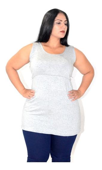 Blusa Camiseta Feminina Regata Moda Maior Camisa Plus Size