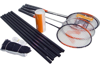 Kit Badminton Vollo Vb004 Com 4 Raquetes 3 Petecas De Nylon Rede De 6 Metros E Estacas De Sustentação