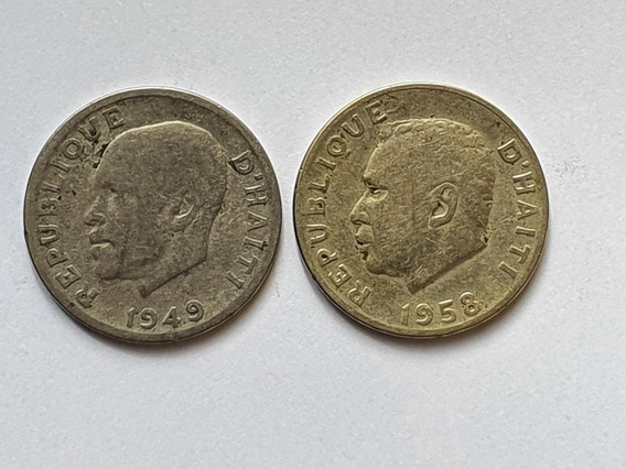 Haiti, Lote De 2 Monedas De 10 Centimes Dif. 1949 Y 58. Cuni