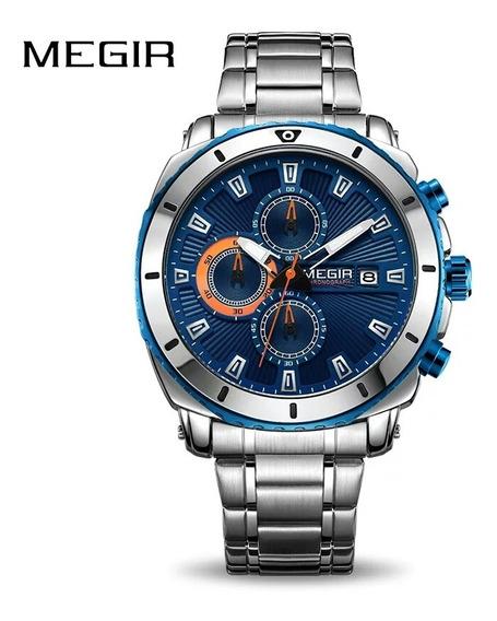 Relógio Megir Luxo Todo Funcional Data Automática Original