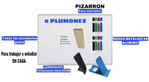 Imagen 1 de 4 de Pintarrones 90x120 Pizarrones Blancos 8 Plumones Borrador