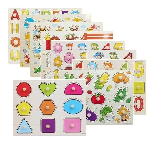 Set 5 Puzzles Encaje Madera Juguete Infantil Montessori