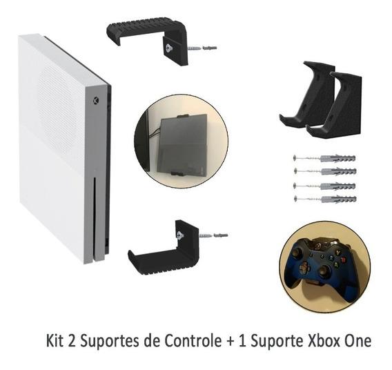 Kit 1 Suporte De Parede Xbox One + 2 Apoios De Controle