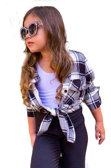 Camisa Xadrez Infantil Com Bolso Feminina Viscose Importado