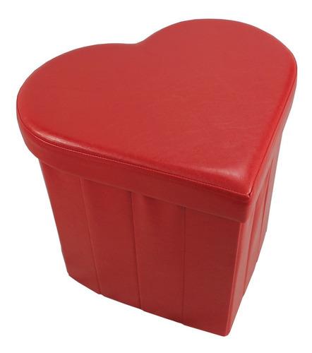 Imagen 1 de 4 de Puff - Baúl Con Forma De Corazón En Eco Cuero