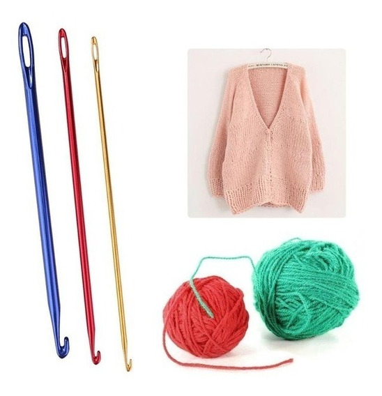Set Aguja Crochet Knooking Aluminio Tejer Lana X3 Agujas