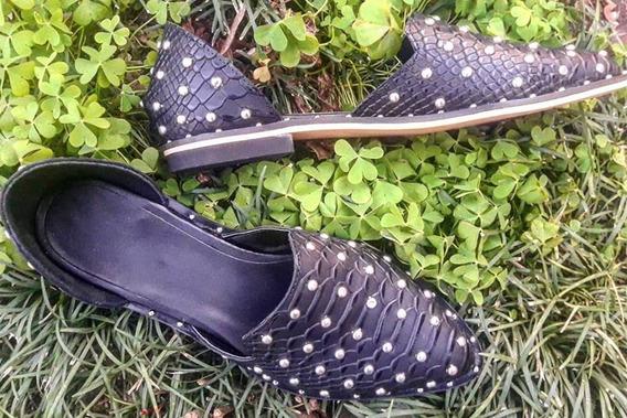 Chatitas Quica Arcadia Zapatos Cuero Crocco Negro Y Tachas Divinas Mujer 2019