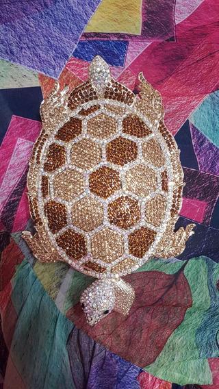 Cartera Tortuga Con Simil Cristales Clutch