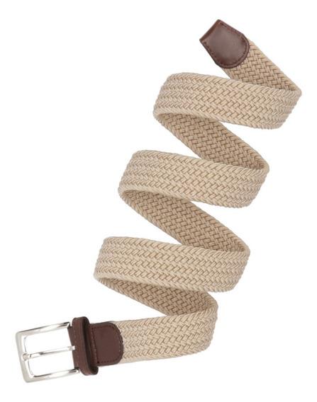 Cinturón Elastico Trenzado Para Hombre Marca Corda Beige