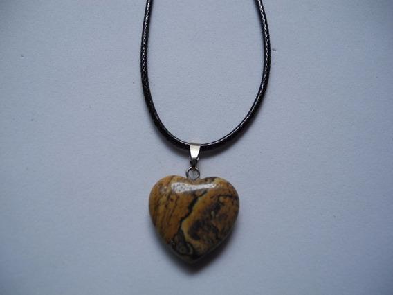 Gargantilha Coração Marrom Pedra Natural Colar Cordão Preto