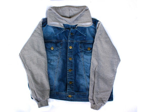 Blusa Jaqueta Jeans Plus Size Manga Em Moletom