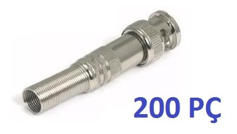 Kit 200 Conectores Bnc Macho De Mola Com Parafuso 4mm Cftv