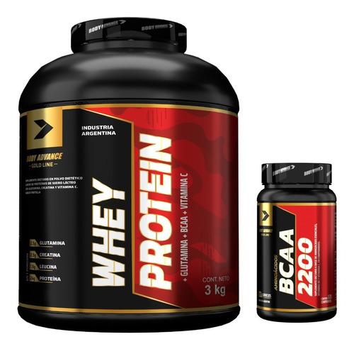 Imagen 1 de 9 de Whey Protein 3 Kg  ( Proteína Pura ) + Bcaa 120 Comprimidos. Body Advance