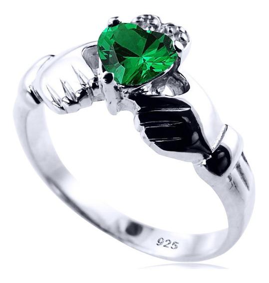Anel De Prata 925 Claddagh Esmeralda - Exclusivo - Compre Joias Direto Da Fábrica E Economize Dinheiro