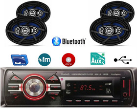 Kit Som Radio Mp3 Bluetooth + 2 Kit Alto Falante 6x9 200w
