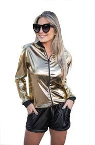 Encomenda Jaqueta Bomber Metalizada Dourada / Preta