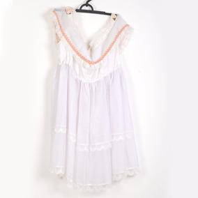 Roupa P/ Estudio Fotog-vestido Branco C/ Florido Laranja