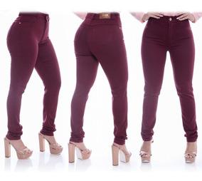 Kit 3 Calças Jeans Feminina Cintura Alta Hot Pants Com Lycra