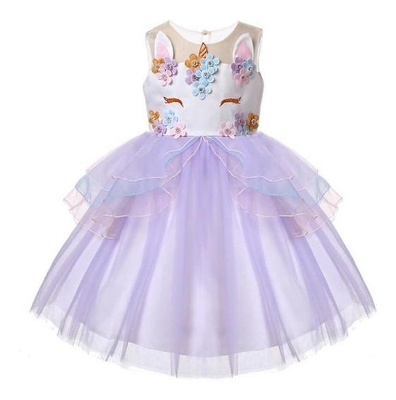 Vestido De Unicornio Con Flores Para Niñas + Envio Gratis