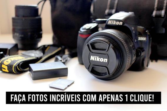 Câmera Semi Profissional Nikon D3100 + 2 Lentes E Cartão