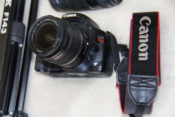 Camera Canon T2i + 1 Lentes 18-55 + 1 Lente 75-300 + Tripé