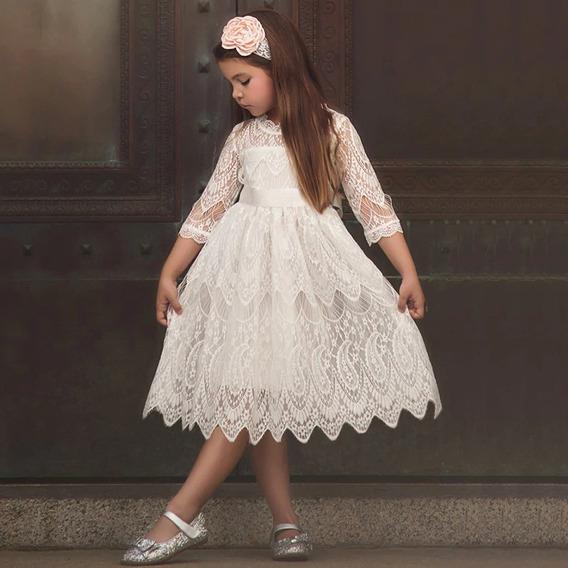 Vestido Fiesta Encaje Princesa Cortejos Niñas Nenas