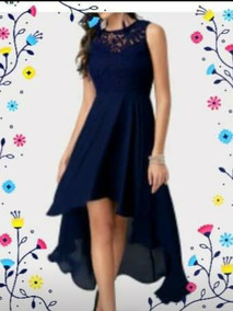 Vestido Azul Casual Asimetrico Con Cola Tallas Grandes