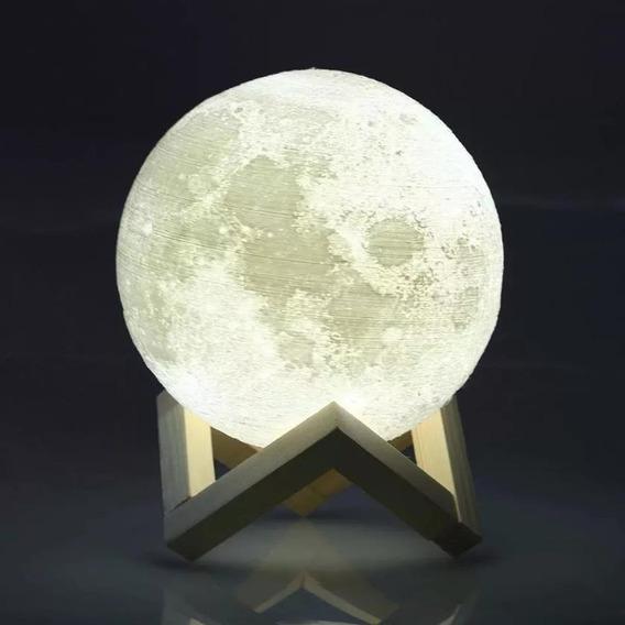 Luminária Lua Abajur Led Usb Touch Variação Cores 15cm Nova