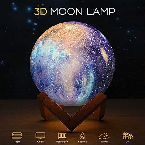 Imagen 1 de 4 de Lampara Luna 3d, Satelite, Luz Recargable Multifunción Noche