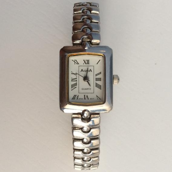 Relógio Aqua Quartz Feminino Prata Barato Quadrado Clássico