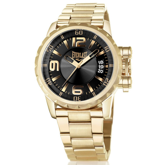 Relógio Everlast Masculino E497 Aço Analógico Dourado Inox